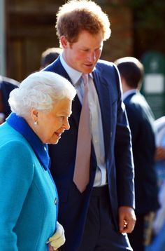 Queen Elizabeth II and Prince Harry at the Royal Chelsea flower show. May 18th 2015