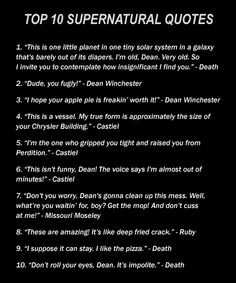 Awesome Supernatural Quotes | ... to ask a Supernatural fan to do because there are SO many good quotes