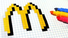 Handmade Pixel Art - How To Draw McDonalds Logo #pixelart