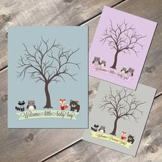 Thumbprint Guest Tree Rustic Baby Shower by EvergreenandWillow, $23.00