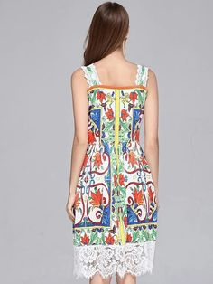 Fashion Lace Stitching Braces Print A-Line Dress