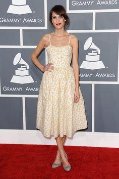 Alexa Chung February 10 2013 She wore a Valentino Red daisy-print dress to the Grammy Awards.