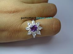 925 Sterling Silver Round Shaped Natural Amethyst February Birthstone Enagement Ring.  Product Detail:  Stone Name: Natural Amethyst & Diamond  Size:6 mm & 3.5x5 mm  Shape:Round & Teardrop  Cut:Faceted  Ring Sizes:US 5.75  Weight : 3.89 grams