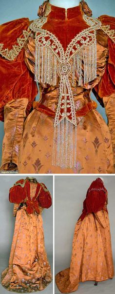 """Dinner dress of the late 1890s screams """"Gilded Age."""" Two-piece cinnamon silk satin with small brocade motifs in mauve & green. Bodice has deep rust velvet yoke, leg o' mutton sleeves, front trimmed with gold & crystal bead appliqués & fringe. Trained skirt with knife-pleated bustle. Augusta Auctions"""