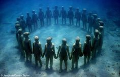 26 life-size figures. Depth 5m. Grenada, West Indies by Jason deCaires Taylor