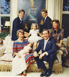 King Constantine and Queen Anne-Marie of Greece with their children Princess Alexia, Prince Pavlos, Prince Nikolaos, Princess Theodora and baby Prince Philippos.