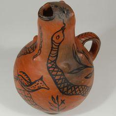 "#adobegallery #TeTsuGehOweengePuebloPottery #TesuquePuebloPottery #SouthwestIndianPottery - Tesuque Pueblo Black-on-red Figural Vessel. Category: #Historic Origin: Te Tsu Geh Oweenge - #TesuquePueblo Medium: clay, pigment Size: 11"" height x 7-3/4"" diameter Item # C3776N"