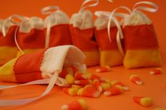 Candy corn felt sachets for Halloween