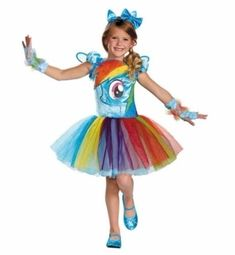 Disguise Hasbros My Lil Pony Rainbow Dash Tutu Prestige Girls Costume -- Check out this incredibly bright my little pony costume perfect for halloween!