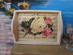 Dollhouse Miniature Shabby Chic Victorian Vintage Cottage Wooden Serving Tray with Rose Motif. $10.95, via Etsy.