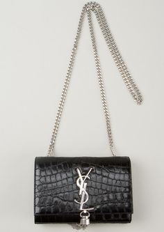 a2bba2721f Love this  Black Leather Faux Crocodile Cassandre Bag  Lyst Crocodile