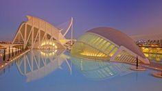 The City of Arts and Sciences is a large-scale urban recreation center for culture and science in the city of Valencia, Spain Amazing Architecture, Modern Architecture, Places Around The World, Around The Worlds, British Overseas Territories, Santiago Calatrava, Travel News, Awesome Bedrooms, Old City