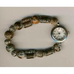 Round Silver Finish Watch on Brown Beaded Band Bracelet Listing in the Novelty,Watches,Jewelry & Watches Category on eBid United States | 139253983