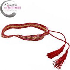 Bracelet Hippie so Chic, bohème, perles de couleur rouge et doré, made in Bali. #bracelets #bijoux # bohéme