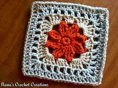 """Nana's """"Sana Flower"""" Square (7"""") - free crochet pattern with a cluster flower and lattice border by Nana's Crochet Creations. https://www.facebook.com/notes/nanas-crochet-creations/nanas-sana-flower-square-/698688636882871"""