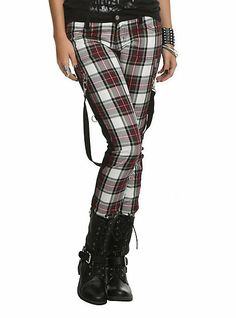 Royal Bones Red Plaid Skinny Pants | Hot Topic