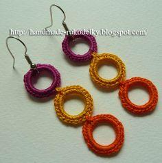 MY HAND MADE STUFF - MOJE RUKODELKY: Crochet Earrings For Beginners 2 >>> Hackovane Nausnice Pro Zacatecniky 2