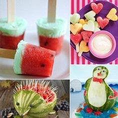 "What-a-Melon! 9 Fun Ways to Serve Up Watermelon For Kids Nothing screams ""Summer's here!"" quite like a ripe, juicy bite of watermelon. Take advantage of the summertime favorite's short shelf life by serving it up in an extra-special way. Whether you're carving a whole melon or turning it into a frozen treat, these nine fun ideas are sure to delight your little ones. Eat up!"