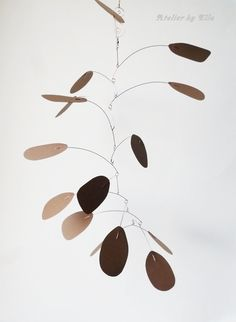 Art Hanging Mobile 15 Brown Pieces Kinetic by AtelierByElla, $72.00