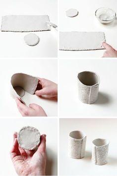 - collect beauty Make Diy stamped clay pots Diy Air Dry Clay, Diy Clay, Clay Crafts, Cosas American Girl, Pottery Handbuilding, Slab Pottery, Ceramic Clay, Ceramic Pinch Pots, Clay Pots
