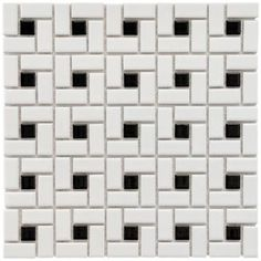 Merola Tile Spiral 12-1/2 in. x 12-1/2 in. Black and White Porcelain Mesh-Mounted Mosaic Tile-FKOMSP20 at The Home Depot; might want to sub out the black with a more retro color