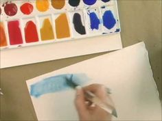 EXCELLENT Video - Watercolor to create techniques like transparent washes. This demonstration will show the new painter how to apply a casual wash and a graduated wash. VERY INTERESTING.... the artist uses acrylic paint watered down. IMPORTANT to note... Acrylic paint ---- can not ---- be reconstituted once it dries on a plastic. It's MORE permanent. It could be removed by scrubbing IF it happens to dry, but it will not just come back like regular watercolors.