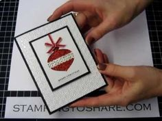 How to make a Stampin Up Delicate Ornament Glimmer Christmas Wow Card - YouTube