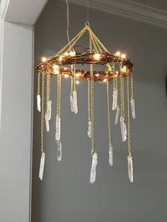 Crystal Mobile- Crystal Point Bohemian Mobile- Quartz Point Crystal Chandelier - Rustic Lighted Chandelier- Bohemian Home Decor- Wedding von BlueLotusDesignsShop auf Etsy https://www.etsy.com/de/listing/258405579/crystal-mobile-crystal-point-bohemian