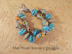 Handmade Lampwork Bracelet - Aqua, Orange and Black Glass Beads with Howlite Turquoise Nuggets No. 56 SRAJD - pinned by pin4etsy.com