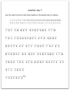 Creation Day 1 Bible Verse Decoding Worksheet  Sunday School