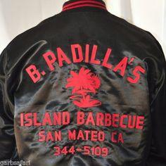 """Vtg Satin Team Jacket XL """"Chris"""" B. Padilla's Island BBQ San Mateo CA Embroiderd"""
