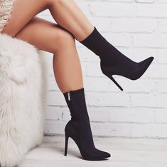 Pin by High Fashion Designer Heels on Black high heels in 2019 - Boots - Zapatos Ideas Socks And Heels, Lace Up Heels, High Heel Boots, Heeled Boots, Bootie Boots, Shoe Boots, Ankle Boots, Women's Shoes, Heeled Sandals
