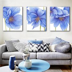 HD Oil Painting Blue Flowers Decoration Painting Home Decor On Canvas Modern Wall Art Canvas Prints Poster Canvas Painting Horse Canvas Painting, Canvas Art, Painting Art, Paintings, Diy Wall Art, Modern Wall Art, Wall Decor, Triptych Wall Art, Plaster Sculpture