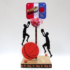 """12"""" Basketball Players used in a   Basketball Themed Table Decoration. Players are made of durable 3/16"""" thick foam board. Choose from 18 cracked ice colors. www.awesomeevent.com"""