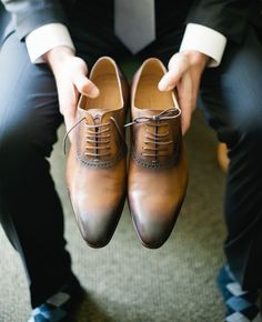These hansome leather brown shoes are great for that groom who loves style