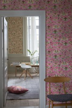 stunningly detailed pink moth and butterfly motif wallpaper design ...