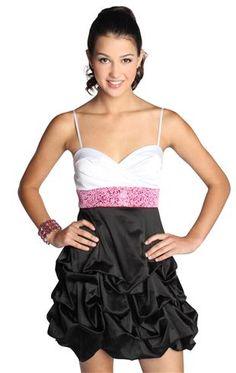 beaded waist homecoming dress with satin tie back