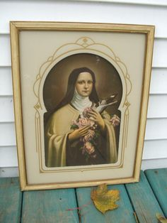 Beautifully framed antique art print of St. Therese of Lisieux ~~~ The Little Flower    17 x 13    Very nice antique condition although the