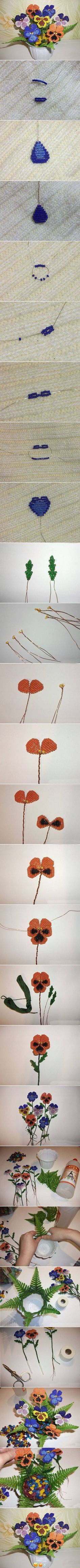 How to make Beads Pansy Flower step by step DIY instructions / How To Instructio. Handmade Flowers, Diy Flowers, Crochet Flowers, Flower Diy, Seed Bead Flowers, French Beaded Flowers, Beaded Crafts, Beaded Ornaments, Beading Tutorials