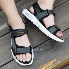 Men Opened Toe Hook Loop Comfortable Sole Outdoor Sandals is comfortable to wear, cheap men sandals are on sale-NewChic. Gents Kurta, Make Money Now, Flip Flop Shoes, Types Of Shoes, Clothes For Sale, Open Toe, Shoes Sandals, Footwear, Sneakers