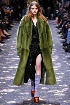 Rochas, Look #37  Paris Fashion Week | Green sequin shirt and skirt with light green fur coat