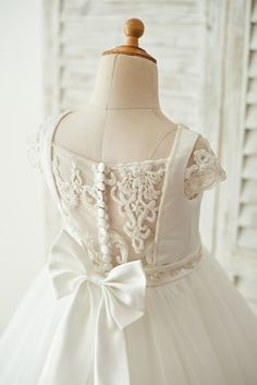 Satin Tulle Beaded Lace Cap Sleeves Sheer Back Wedding Flower Girl Dress With Bow - Dresses