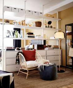 A white modular storage unit used as a room divider in an open-plan living room. A white modular sto Small Space Organization, Organization Hacks, Organizing Tips, Elvarli Ikea, Catalogue Ikea, Modular Storage, Ikea Bedroom, Under Bed Storage, Open Plan Living