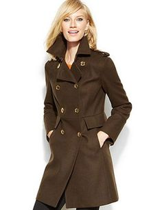 Michael Kors - double breasted wool pea coat  gold-tone buttons, love deep chocolate color
