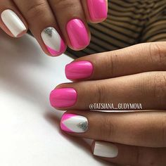 Vibrant Pink and White Summer Nails