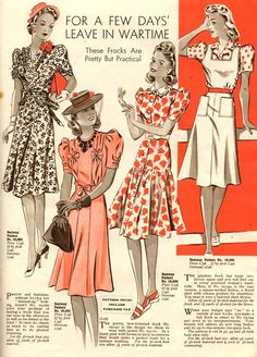 day wear casual floral red black white illustration war era WWII fashion vintage These frocks are pretty but practical! Moda Vintage, Vintage Mode, Retro Vintage, Vintage Outfits, Vintage Dresses, Vintage Clothing, 40s Outfits, 1940s Fashion, Vintage Fashion