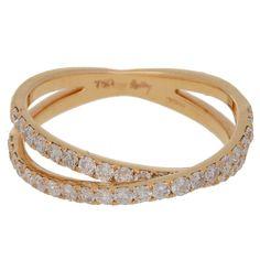 Diamond Crossover Rose Gold Ring