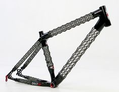 Delta 7 Sports has engineered a spider web-like open lattice tube frame that brings unparalleled strength to weight ratio and an ultra stiff and responsive bike. Limited to 200 Mountain Bike Frames, Mountain Biking, Bicycle Parts, Futuristic Cars, Gadgets And Gizmos, Bicycle Design, Star Shape, Carbon Fiber, Watches For Men