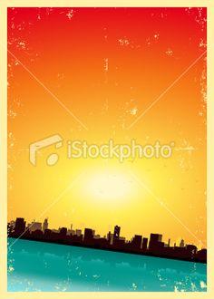 Grunge City Landscape Royalty Free Stock Vector Art Illustration