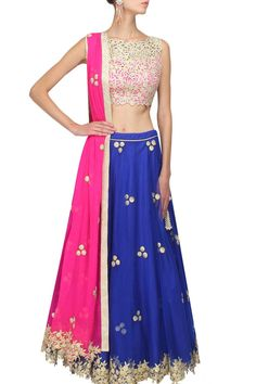 Royal blue gota patti work lehenga and pink blouse set available only at Pernia's Pop Up Shop.